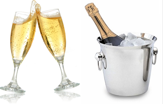 Image of champagne bottle and two full glasses